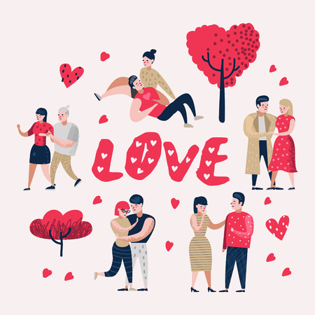 Illustration pour Couple in Love Cartoon Characters People. Valentine's Day Doodle with Hearts and Romantic Elements. Love and Romance Concept. Vector illustration - image libre de droit