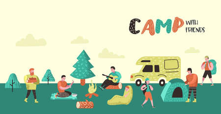 Ilustración de Summer Camping Poster, Banner. Cartoon Characters People in Camp Background. Travel Equipment, Campfire, Outdoor Activities. Vector illustration - Imagen libre de derechos