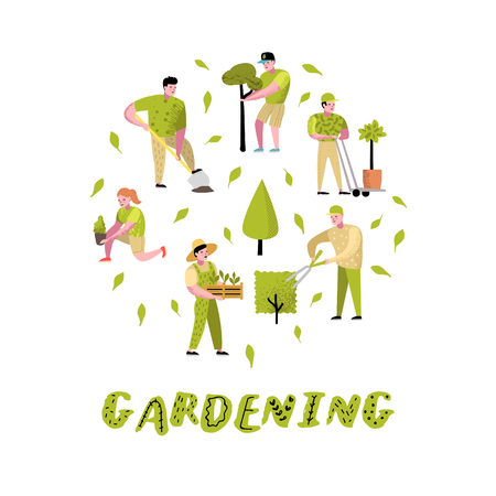 Illustration pour Gardening Cartoons Set. Funny Simple Characters with Plants and Trees. Man and Woman Gardener. Vector illustration - image libre de droit