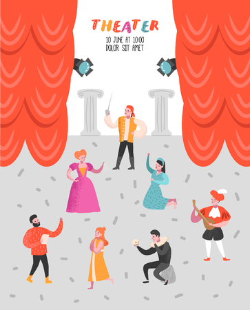 Illustration pour Theater Actor Characters Set. Flat People Theatrical Stage Poster. Artistic Perfomances Man and Woman. Vector illustration - image libre de droit