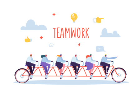Illustration pour Business Team Work and Cooperation Concept. Flat People Characters Riding Six Person Tandem Bicycle. Man and Woman Collective Perfomance. Vector illustration - image libre de droit
