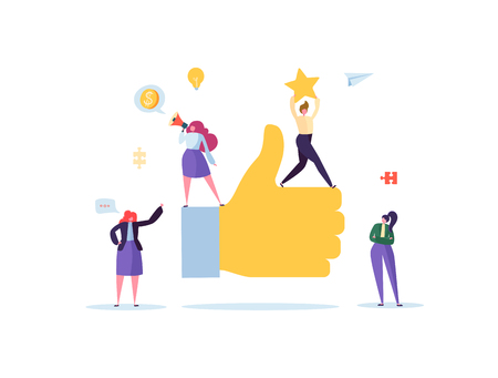 Illustration pour Big Hand with Thumb Up and Working Flat People Characters. Team Work Business Success Concept. Vector illustration - image libre de droit