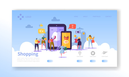 Illustration for Online Shopping Landing Page. Flat People Characters with Shopping Bags Website Template. Easy to edit and customize. Vector illustration - Royalty Free Image