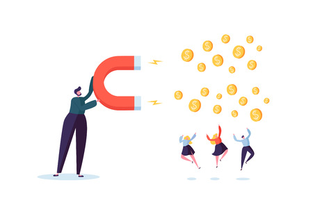 Illustration pour Businessman Character Attracting Money with Big Magnet. Making Money, Earnings, Investment Financial Concept. Vector illustration - image libre de droit