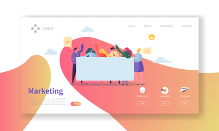 Illustration for Marketing Team Landing Page. Team Work Concept with Flat Business People Characters Working Together Website Template. Easy Edit and Customize. Vector illustration - Royalty Free Image