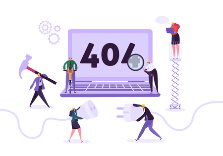 Illustration pour Website Under Construction. 404 Page Maintenance with Characters Workers in Uniform Repairing Network Problem. Web Page Not Found. Vector illustration - image libre de droit