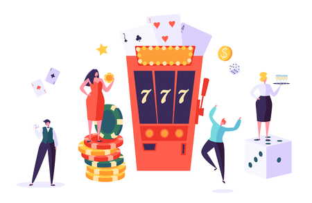 Illustration pour Casino and Gambling Concept. People Characters Playing in Games of Fortune. Man and Woman Play Poker, Roulette, Slot Machine. Vector Illustration - image libre de droit