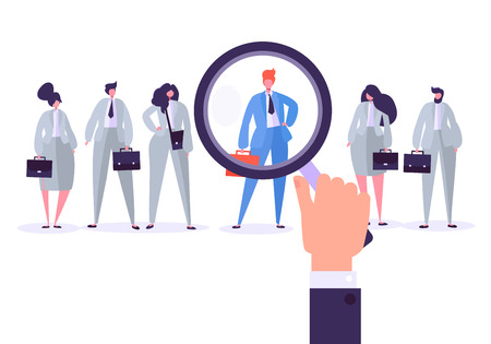 Illustration pour Recruitment management characters, best job candidate. Human resources searching for individuality. Hand holds a magnifier and selects individual person from group of people. Vector illustration - image libre de droit