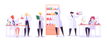Ilustración de Pharmaceutic Laboratory Research Concept. Scientists Characters Working in Chemistry Lab with Medical Equipment Microscope, Flask, Tube. Vector illustration - Imagen libre de derechos