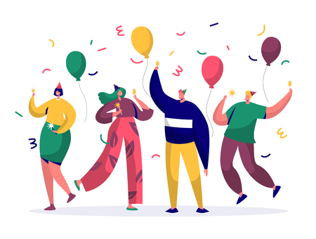 Illustration for Group of joyful people celebrating New Year or Birthday party. Man and woman characters in hats having fun and having toast with confetti and balloons. Vector illustration - Royalty Free Image