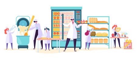 Illustration for Bakery Factory Food Production Character. Bread Baker Machine Industry Plant. Worker Make Cake Dough in Modern Manufacture Confectionery Interior Flat Cartoon Vector Illustration Set - Royalty Free Image