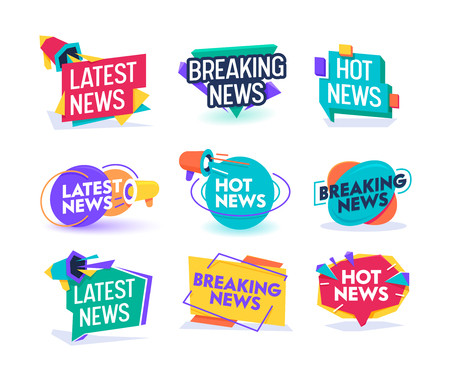 Illustration for Hot Latest News Daily Update Badge Template Set. Important Breaking Report Label Geometric Design. Online Magazine Typography Message Information Sticker Sign Flat Vector Illustration - Royalty Free Image