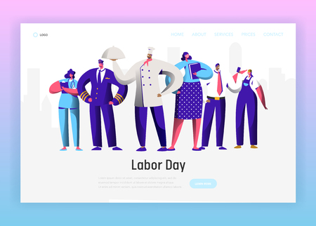 Illustration pour Labor Day Different Profession Character Group Landing Page. September Holiday National Celebration for Diverse Man and Woman Job Occupation Website or Web Page. Flat Cartoon Vector Illustration - image libre de droit