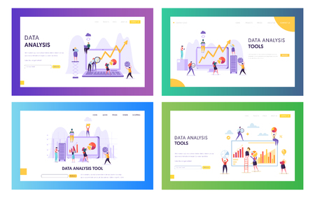 Illustration pour People Analysing Statistic Graphic Landing Page. Business Analytic Information Tool Set. Data Visualization Concept Website or Web Page. Teamwork Management Flat Cartoon Vector Illustration - image libre de droit