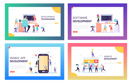 Illustration pour People Character Make Software Development Landing Page. Programming Code on Smartphone and Computer Screen Set. Coding Concept Website or Web Page. Flat Cartoon Vector Illustration - image libre de droit