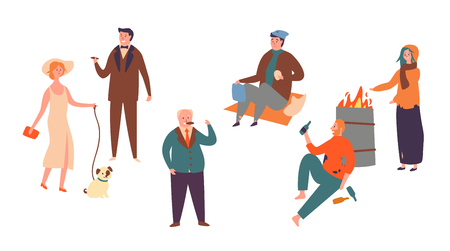 Ilustración de Set Poor Rich Character Socialclass Inequality. Homeless man and Women and Successful Rich People. Contrast in Social Economic Classes Isolated on white Background Flat Cartoon Vector Illustration - Imagen libre de derechos