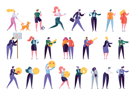 Illustration pour Collection Creative Various Lifestyle Character. Set Crowd of People Performing Activity - Walking Dog, Going Sport, Looking Job, Doing Business, Building Family. Flat Cartoon Vector Illustration - image libre de droit