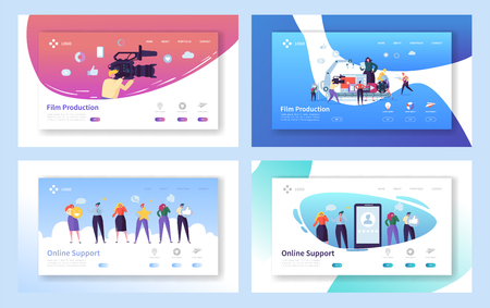Illustration pour Film Production Set Concept Landing Page. People Character with Camera Shooting Editing Film. Online Chat Support Technology at Smartphone Website or Web Page Flat Cartoon Vector Illustration - image libre de droit