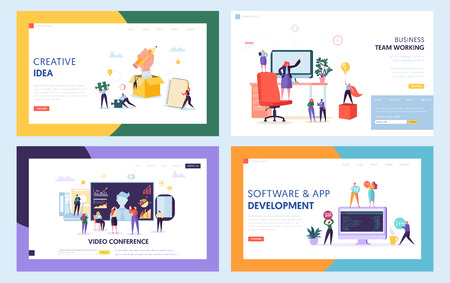 Illustration pour Creative Teamwork Concept Set Landing Page. People Character at Video Conference Meeting. Work Together for New Idea Website or Web Page. Java Software Support Flat Cartoon Vector Illustration - image libre de droit