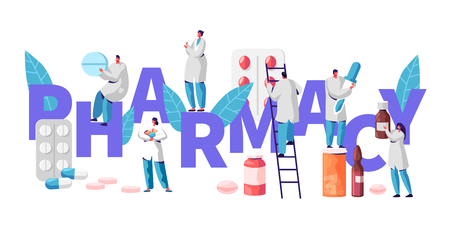 Ilustración de Pharmacy Business Drug Store Industry Character Typography Poster. Pharmacist Cure Patient. Professional Drugstore Product. Healthcare Online Industry Vitamin Pill Flat Cartoon Vector Illustration - Imagen libre de derechos
