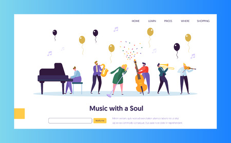 Illustration for Fun Jazz Concert Show Concept Landing Page. Musician Character with Musical Instrument Saxophone Piano Violin Trumpet. Colorful Jazz Band Image Website or Web Page. Flat Cartoon Vector Illustration - Royalty Free Image