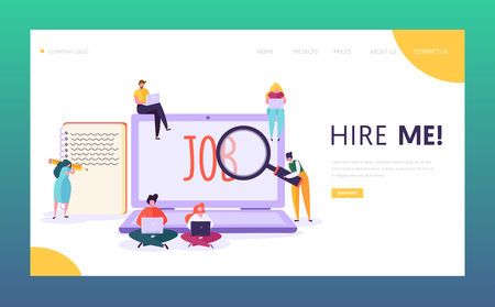 Illustration pour Online Job Search Concept Landing Page. Male and Female Character Write Creative Resume Looking for Good Salary Vacancy. Human Resource Website or Web Page. Flat Cartoon Vector Illustration - image libre de droit
