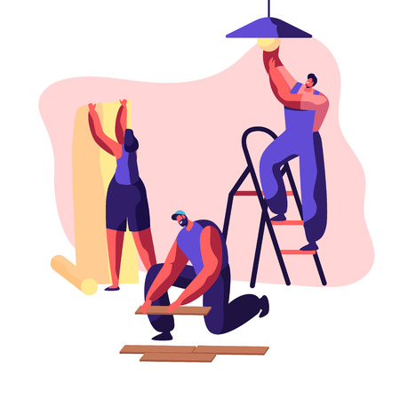 Repair Service Professional Worker in Uniform for Renovation Work. Woman Glues Wallpaper in Home. Man Lay Laminate on Floor. Workman on Ladder Change Light Bulb. Flat Cartoon Vector Illustration