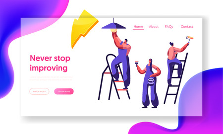 Illustration for Repair Service Professional Worker Landing Page. Workman on Ladder Change Light Bulb, Paint Wall Brush and Roller . Renovation Team Work in Room Website or Web Page. Flat Cartoon Vector Illustration - Royalty Free Image