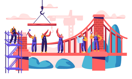 Construction Cable-stayed Bridge. Professional Character Build New Connection of two Shore. Analyze Plan and Place, Laying Brick and Attache Cable. Flat Cartoon Vector Illustration