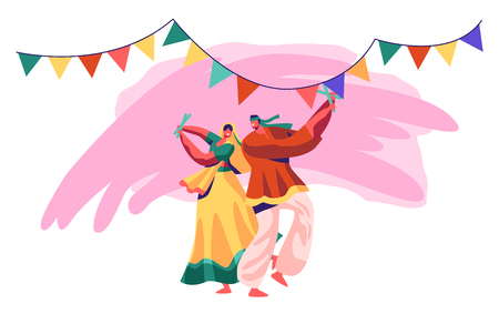 Illustration pour Indian Dancer Performing on National Festival. Man and Woman Dance in Traditional Costume in Exotic India. Young Lady in Sari Dancing on Asian Show Ceremony. Flat Cartoon Vector Illustration - image libre de droit