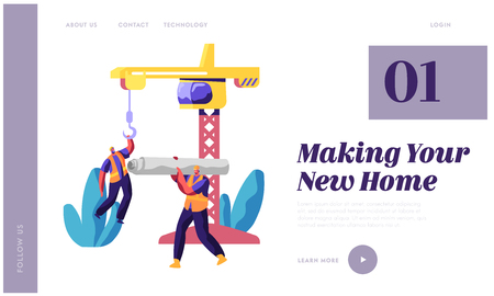 Illustration for Professional Builder in Uniform in Process Construction Landing Page. Worker in Hardhat Keep Crane. Man Carry Material for Building Work for Website or Web Page Flat Cartoon Vector Illustration - Royalty Free Image