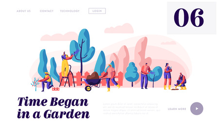 Illustration for People Gardener and Farmer Work in Garden Landing Page. Man with Scissors and Secateurs Trimming Tree. Woman Harvest Apple. Female Planting Website or Web Page. Flat Cartoon Vector Illustration - Royalty Free Image