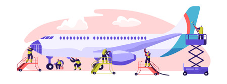 Illustration for Plane Service Banner. Aircraft Maintenance, Inspection and Repair. Performance of Task Required to Ensure the Continuing Airworthiness of Airplane. Flat Cartoon Vector Illustration - Royalty Free Image
