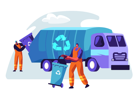 Illustration for Man Cleaning Trash Container to Rubbish Truck with Recycle Sign. Lorry for Urban Waste Removal Service. Character Collect Dustbin to Industrial Transport Vehicle Flat Cartoon Vector Illustration - Royalty Free Image