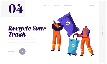 Illustration for Man Collector Cleaning Trash from Rubbish Bin Container with Recycle Sign Landing Page. Garbage Removal. Clean Dustbin to reduce Littering Website or Web Page. Flat Cartoon Vector Illustration - Royalty Free Image
