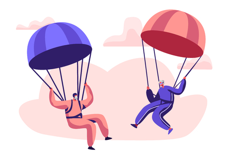 Ilustración de Happy Aged Pensioner Characters Doing Extreme Sport, Skydiving with Parachute, Senior Man and Woman Skydivers Wearing Sports Wear Uniform Floating in Sky with Chutes. Cartoon Flat Vector Illustration - Imagen libre de derechos
