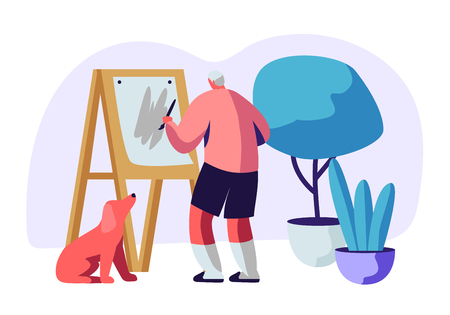 Illustration pour Senior Man Artist Hobby. Old Male Painter Hold Paintbrush in Hand in Front of Canvas on Easel Drawing with Oil Paints, Dog Sit beneath. Aged People Creative Occupation Cartoon Flat Vector Illustration - image libre de droit
