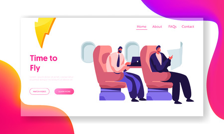 Illustration pour Respectable Businessmen Sitting in Comfortable Airplane Seats Reading and Working on Laptop. Airline Transportation Service Website Landing Page, Web Page. Cartoon Flat Vector Illustration, Banner - image libre de droit