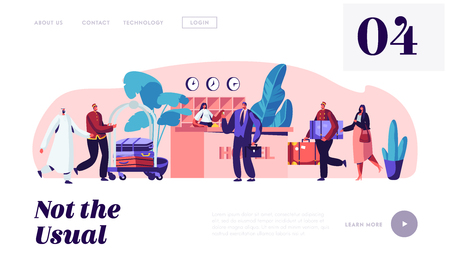 Illustration pour Hospitality Service. Clerks and Receptionist Meeting Guests in Hotel. Businessman Take Room Key. Stuff Meeting Lodgers in Lobby Website Landing Page, Web Page. Cartoon Flat Vector Illustration, Banner - image libre de droit