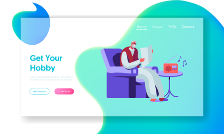 Illustration pour Senior Man Reading Newspaper in Armchair and Listening Music on Radio. Aged Male Character Hobby and Leisure in Nursing Home. Website Landing Page, Web Page. Cartoon Flat Vector Illustration, Banner - image libre de droit