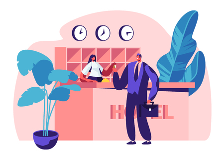 Illustration pour Hotel Reception. Female Manager, Receptionist Character Behind Desk Give Room Key to Businessman Guest at Hall. Lobby Interior, Tourism, Business Trip. Interior of Inn.Cartoon Flat Vector Illustration - image libre de droit