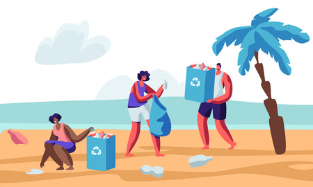 Illustration for Multiracial Human Characters Picking Up Litter on Beach During Coastal Cleanup. Volunteers Collecting Trash in Bags with Recycle Sign. Environmental Pollution Problem. Cartoon Flat Vector Illustration - Royalty Free Image