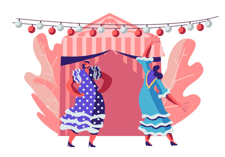 Illustration pour Beautiful Mexican Women Wearing Traditional Dresses Dancing during Cinco De Mayo Festival near Decorated Fairy Tent and Festive Lights. Latin Folk Music Celebration. Cartoon Flat Vector Illustration - image libre de droit