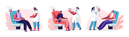 Illustration for Volunteers Male Characters Sitting in Medical Hospital Chairs Donating Blood. Doctor Woman Nurse Take it in Test Flasks, Donation, World Blood Donor Day, Health Care. Cartoon Flat Vector Illustration - Royalty Free Image