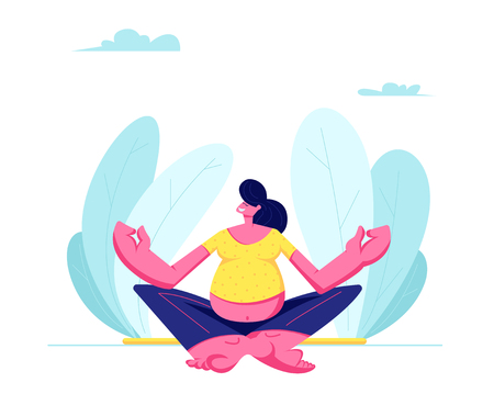 Illustration for Young Pregnant Woman Sitting in Lotus Pose Doing Yoga Meditation Outdoors. Health Care, Pregnancy Exercises, Maternity. Female Character Child Bearing, Awaiting Baby. Cartoon Flat Vector Illustration - Royalty Free Image