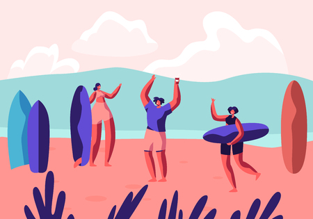 Surf Party on Exotic Seaside Resort. Male and Female Sportsmen with Boards Relax on Sandy Beach. Summertime Leisure, Surfing Sport, Recreation, Summer Sports Activity. Cartoon Flat Vector Illustration