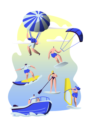 People Summer Sports Activity. Surfing, Sup Board, Paragliding, Motor Boat Riding, Sailing. Sports Men and Women Relax at Summertime Vacation, Leisure Sport Recreation Cartoon Flat Vector Illustration