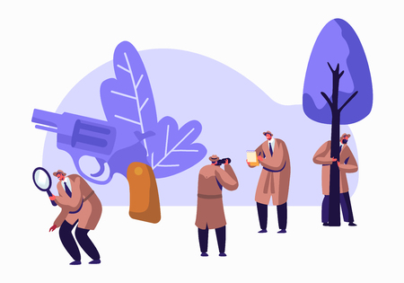 Vektor für Police Detectives, Private Investigators at Work Solving Crimes. Top Secret Undercover Agents, Spies in Classic Hats and Cloaks Investigating with Magnifier Glass and Gun. Flat Vector Illustration - Lizenzfreies Bild