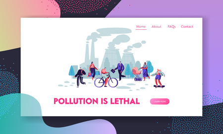 Illustration pour People in Protective Face Masks on Street, Factory Pipes Emitting Smoke. Air Pollution, Industrial Smog, Pollutant Gas Emission Website Landing Page, Web Page. Cartoon Flat Vector Illustration, Banner - image libre de droit