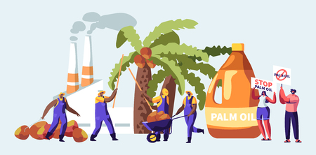 Illustration for Palm Oil Producing Industry Concept with Workers Collecting Fruits, Processing Factory with Pipes Emitting Smoke, Pollutant Gas Emission, Protesters with Stop Banners. Cartoon Flat Vector Illustration - Royalty Free Image